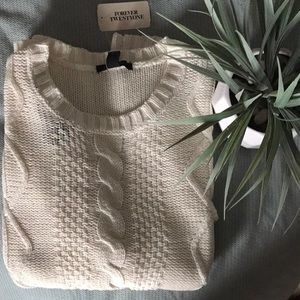 NWT Forever 21 cream cable knit sweater small s